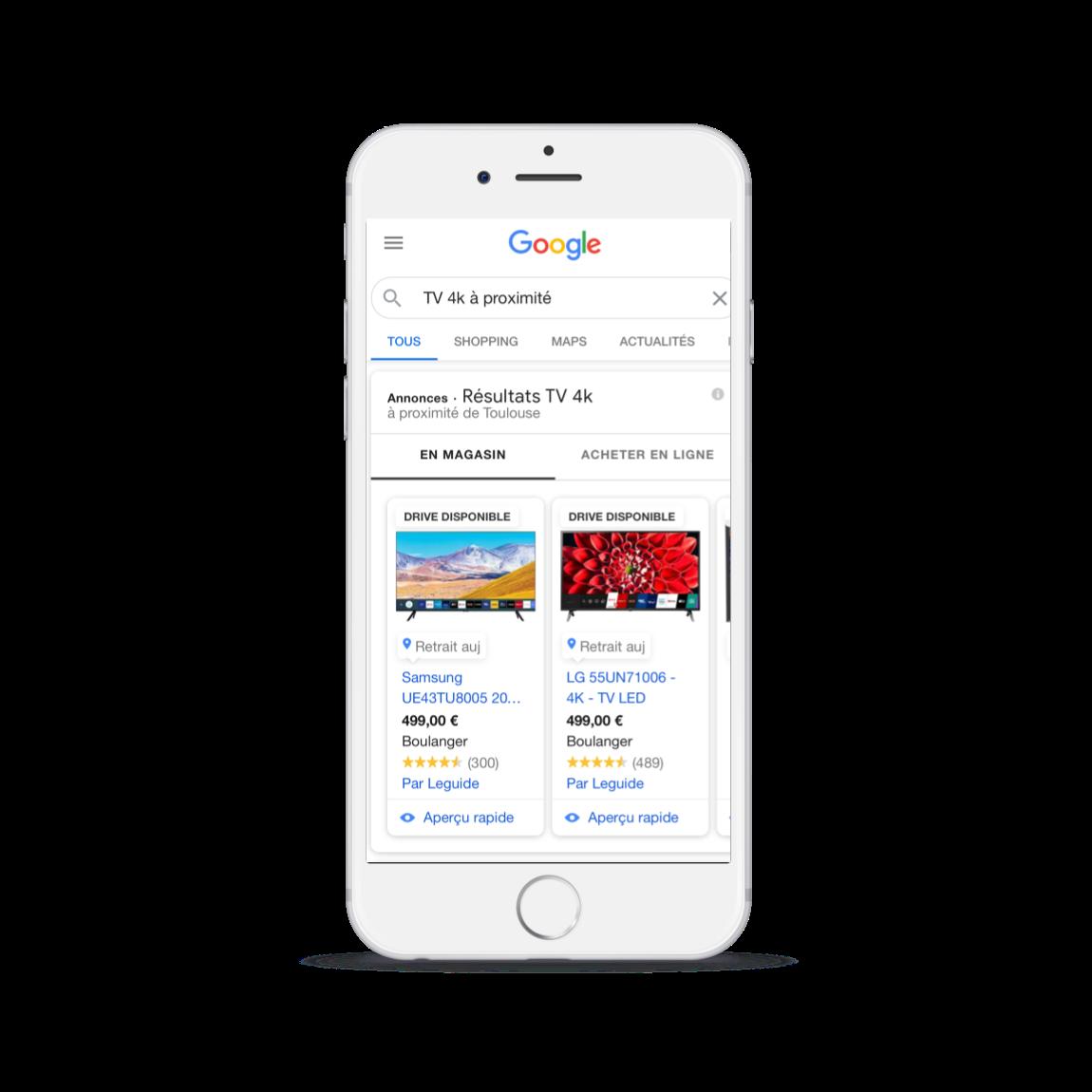 Annonces Google Shopping du type Local Adventory Ads mises en place par l'agence Digiberries.