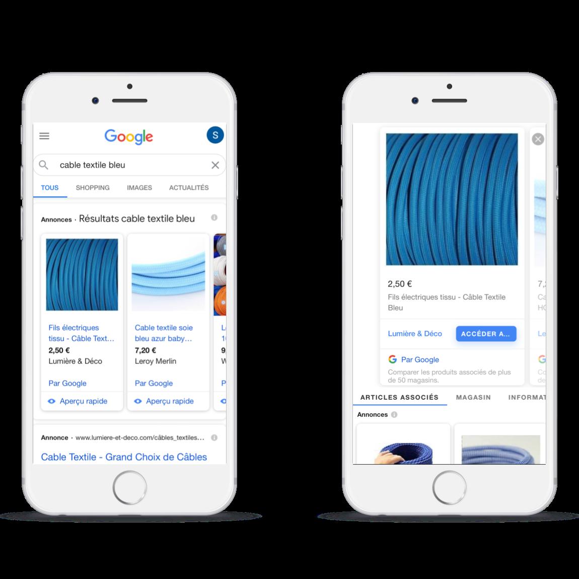 Annonces Showcase Shopping mises en place par l'agence google shopping Digiberries.