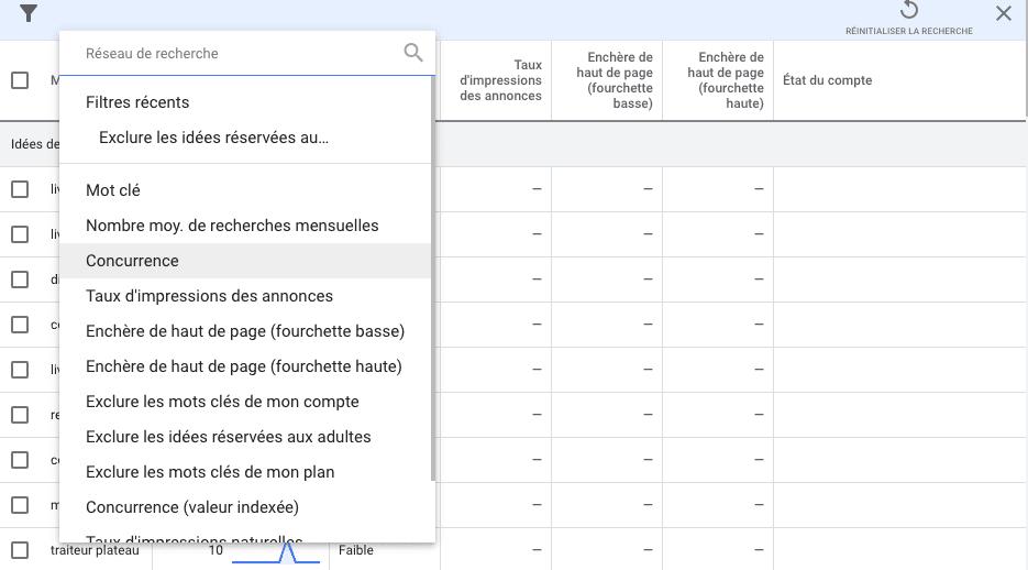 Pas 5 de la guide utilisation keyword planner de Google